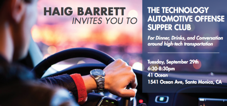 Dinner, Drinks, and Conversation around the future of high-tech transportation