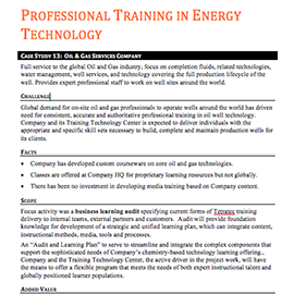 Professional Training in Energy Technology – Case Study