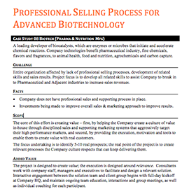Professional Selling Process for Advanced Biotechnology – Case Study