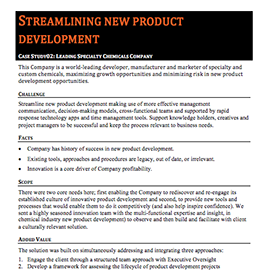 Streamlining New Product Development – Case Study
